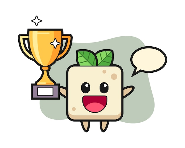 Cartoon illustration of tofu is happy holding up the golden trophy, cute style design for t shirt