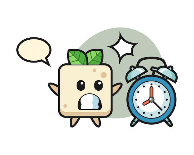 Cartoon illustration of tofu is surprised with a giant alarm clock, cute style design for t shirt