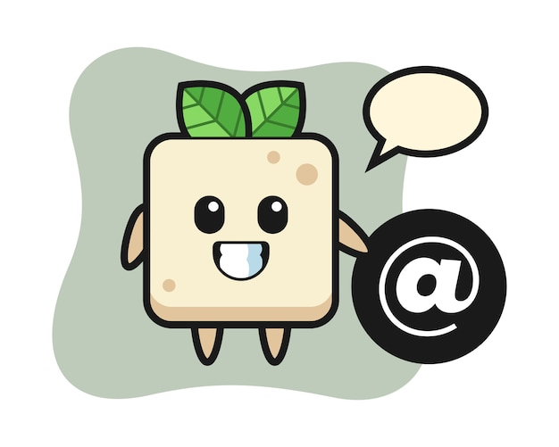 Cartoon illustration of tofu standing beside the at symbol, cute style design for t shirt