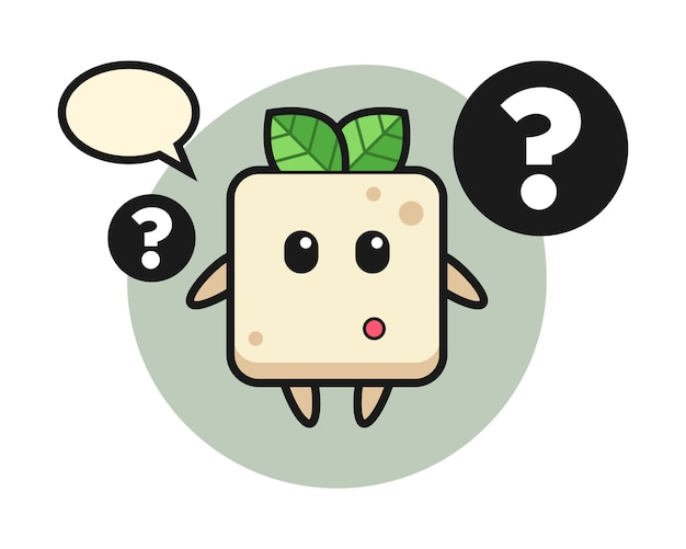 Cartoon illustration of tofu with the question mark, cute style design for t shirt