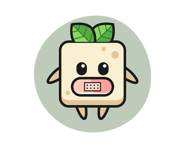 Cartoon illustration of tofu with tape on mouth, cute style design for t shirt