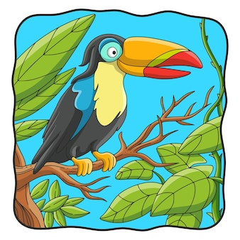 木にとまる漫画イラストオオハシ鳥