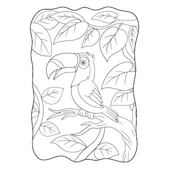 Cartoon illustration toucan bird perched on a tall tree trunk book or page for kids black and white