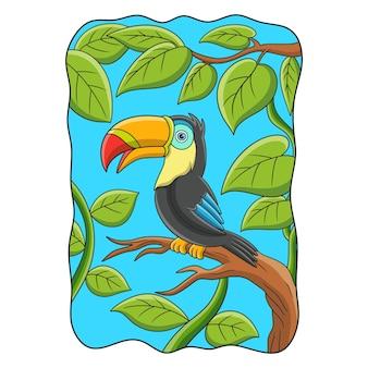 Cartoon illustration toucan bird perched on a tall tree trunk