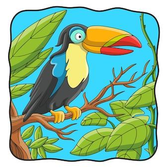 Cartoon illustration toucan bird perched on a tree