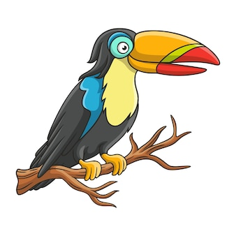 Cartoon illustration toucan perched on a tree trunk