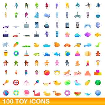 Cartoon illustration of toy icons set isolated on white
