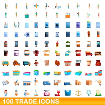 Cartoon illustration of trade icons set isolated on white