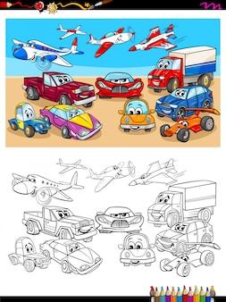 Cartoon illustration of transportation vehicles color book