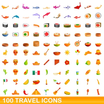Cartoon illustration of travel icons set isolated on white