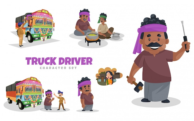 Cartoon illustration of truck driver character set