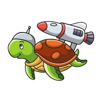 Cartoon illustration turtle playing rocket