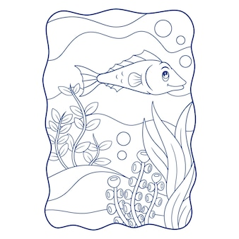 Cartoon illustration two angelfish swimming in the sea book or page for kids black and white