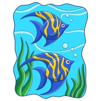 Cartoon illustration two angelfish swimming in the sea