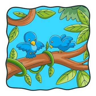 漫画イラスト二羽の鳥が木の幹にあります Premiumベクター