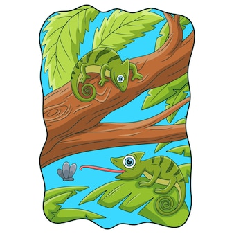 Cartoon illustration two chameleons on a big tree trunk