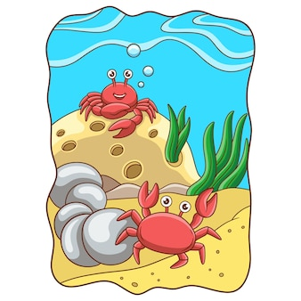 Cartoon illustration two crabs playing on the coral reef