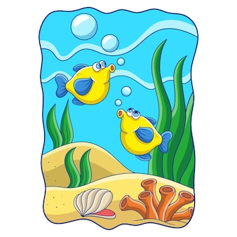 Cartoon illustration two fish with long fins swimming and jumping in the ocean