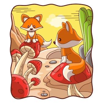 만화 그림 버섯에 앉아 두 여우