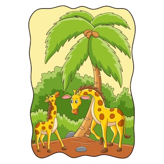 Cartoon illustration two giraffes playing in the forest