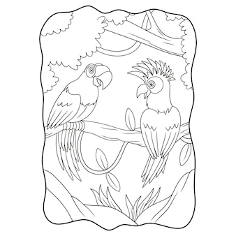Cartoon illustration two parrots on the tree trunk book or page for kids black and white
