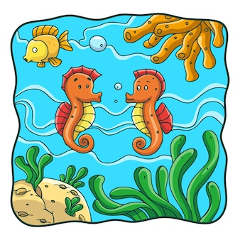 Cartoon illustration two seahorses and one fish are in the water