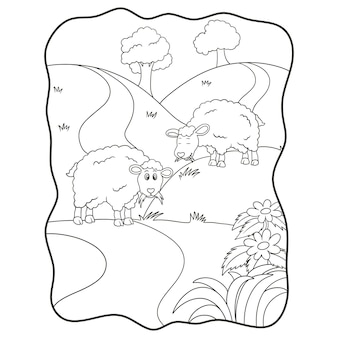 Cartoon illustration two sheep eating grass in the meadow book or page for kids black and white
