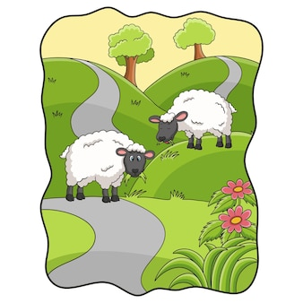 Cartoon illustration two sheep eating grass in the meadow