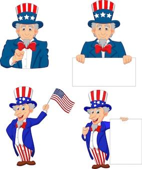 Cartoon illustration of uncle sam collection set
