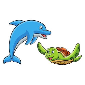 カメとイルカの漫画イラスト水中生活
