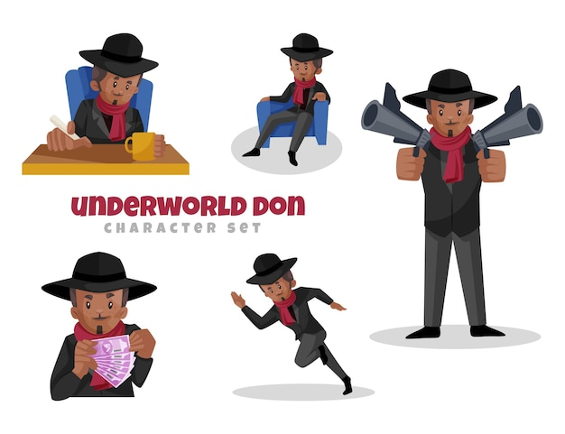 Cartoon illustration of underworld don character set