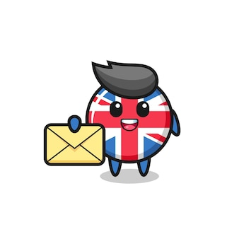 Cartoon illustration of united kingdom flag badge holding a yellow letter , cute style design for t shirt, sticker, logo element