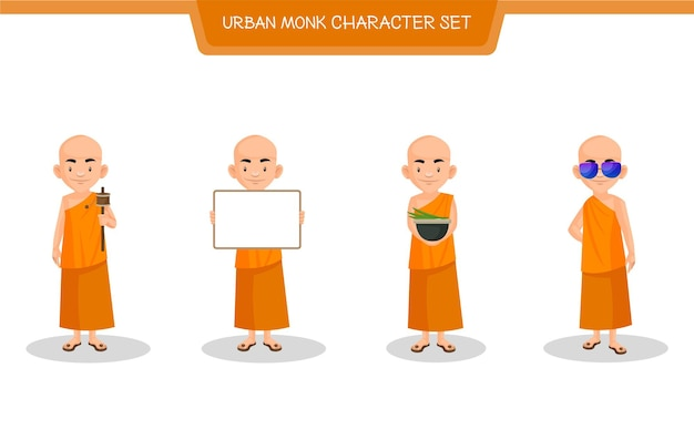 Cartoon illustration of urban monk character set