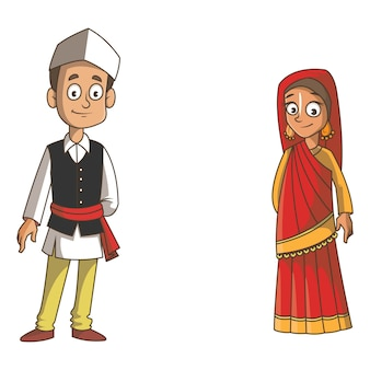 Cartoon illustration of uttarakhand couple.