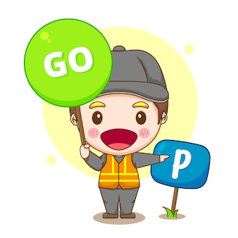 Cartoon illustration of valet parking service with go sign