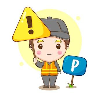 Cartoon illustration of valet parking service with warning sign