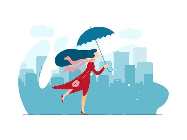 Cartoon illustration. walk under rain cartoon flat.