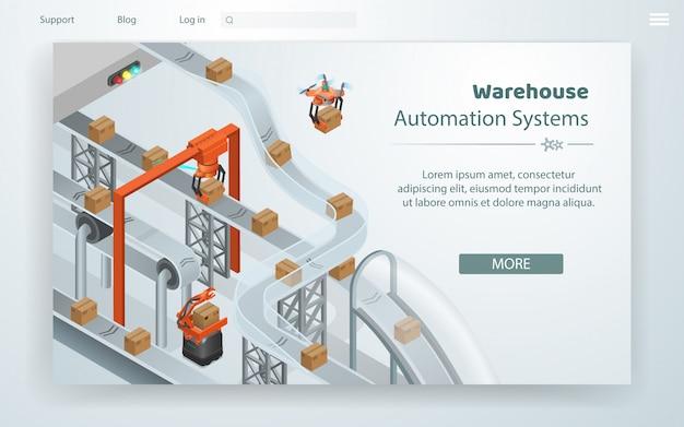 Cartoon illustration warehouse automation system.