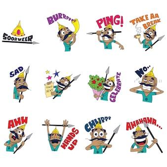 Cartoon illustration of warrior set.