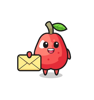 Cartoon illustration of water apple holding a yellow letter , cute style design for t shirt, sticker, logo element