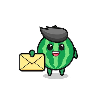 Cartoon illustration of watermelon holding a yellow letter , cute style design for t shirt, sticker, logo element