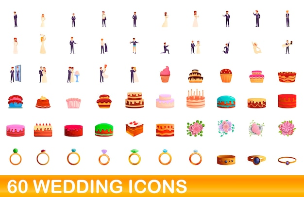 Cartoon illustration of wedding icons set isolated on white
