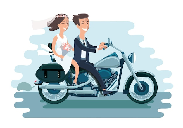 Cartoon illustration of wedding young couple riding the motorcycle
