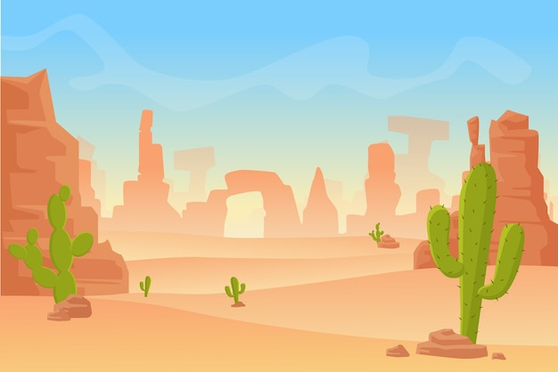Cartoon illustration of western texas or mexican desert silhouette. wild west america western scene with mountains and cactus in dry desert.