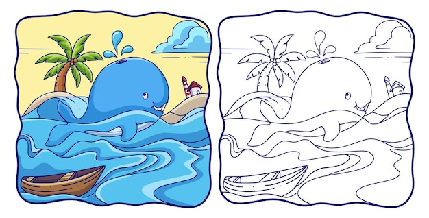 Cartoon illustration whale swims in the sea and spouts water from above his head coloring book or page for kids