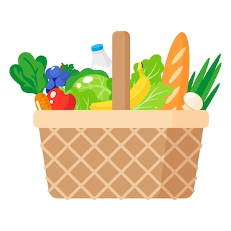 Cartoon illustration of wicker picnic basket with healthy organic food isolated on white background