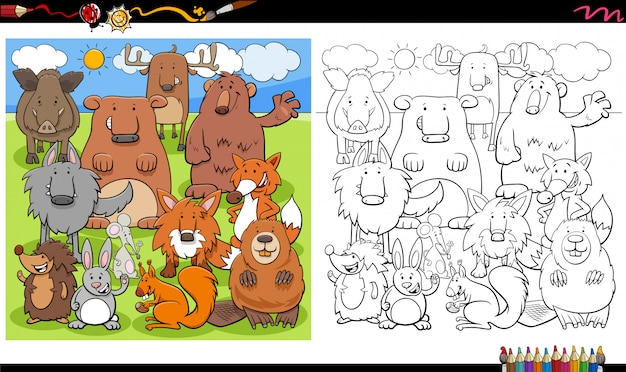 Cartoon illustration of wild animal characters group coloring book page