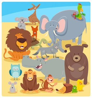 Cartoon illustration of wild animal characters