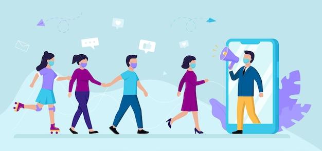 남성과 여성 캐릭터와 만화 그림입니다. 웹 인플 루 언서 마케팅 컨셉 아트.