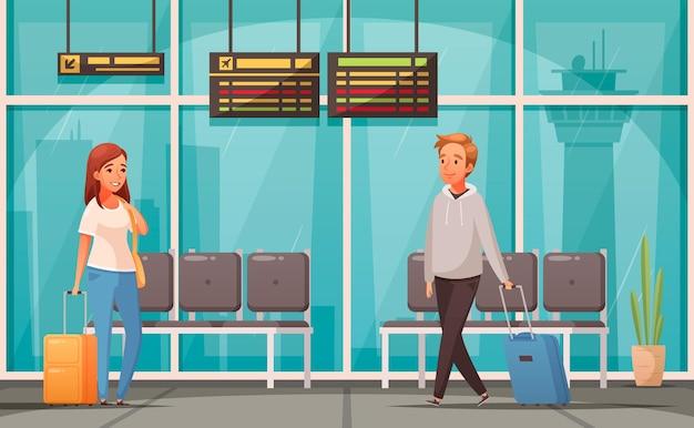 공항 대기 홀에서 가방을 가진 승객과 만화 그림
